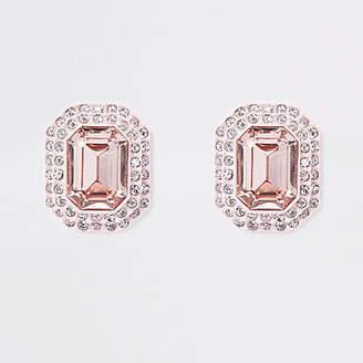 River Island Light pink jewel embellished clip on earrings