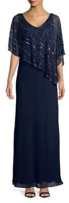 J Kara Cape Long Dress