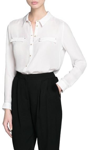 MANGO Outlet Metallic Button Flowy Shirt