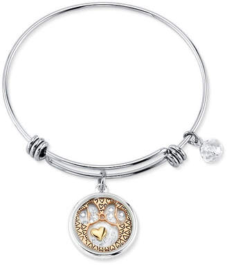 Disney Tri-tone Crystal Minnie Mouse Glass Shaker Adjustable Bangle Bracelet in Stainless Steel for Unwritten