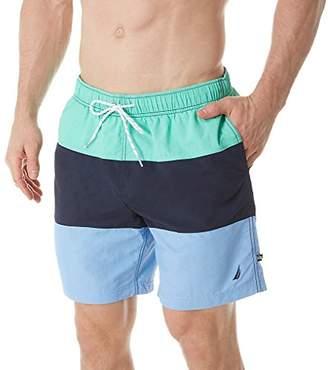 Nautica Men's Quick Dry Color Block Swim Trunk (T71007)