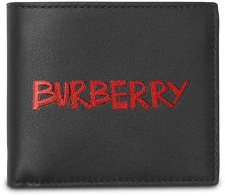 Burberry Graffiti Print Leather International Bifold Wallet