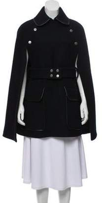 Victoria Beckham Belted Wool Cape Navy Belted Wool Cape