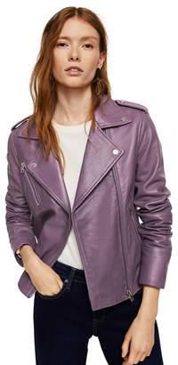 MANGO Purple Leather 'Sandy' Biker Jacket