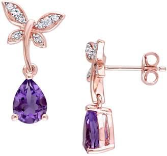 Laura Ashley English Garden Sterling Silver, Amethyst White Sapphire Butterfly Drop Earrings