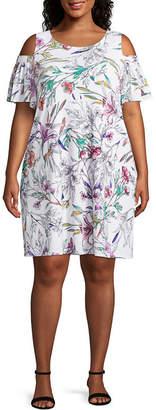 Studio 1 Short Sleeve Floral Shift Dress-Plus