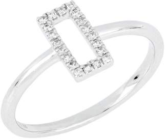 Carriere Sterling Silver Pave Diamond Open Rectangle Ring - 0.10 ctw