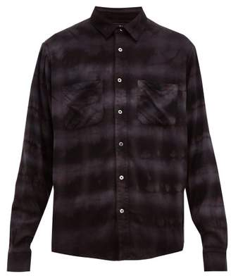 Amiri Plaid Tie Dye Cotton Blend Shirt - Mens - Black Grey