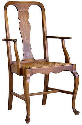 One Kings Lane Vintage Queen Anne Armchair with Caned Seat - Janney's Collection