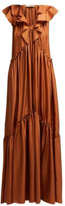 Three Graces London Wilhemina Ruffle Trimmed Silk Maxi Dress - Womens - Light Brown