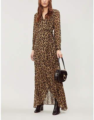 BA&SH Pattie leopard-print crepe maxi wrap dress