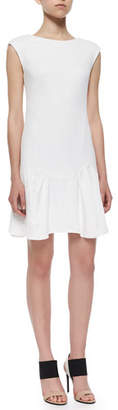 Rebecca Taylor Knit Pique Flare-Skirt Dress, White