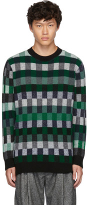 The Elder Statesman Green Plaid Gees Crewneck Sweater