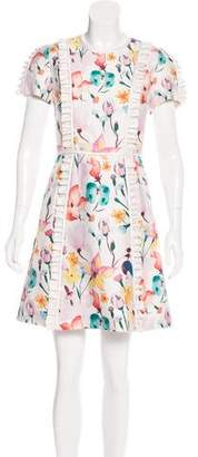 Thomas Wylde Floral Print Ruffle-Trimmed Dress