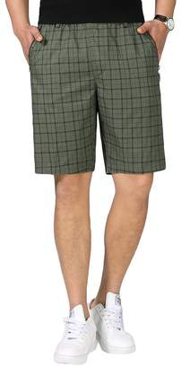 Liveinu Men's Casual Cargo Shorts Elastic Waist Plaid Short Big and Tall XL