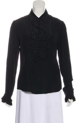 Theory Ruffle-Accented Long Sleeve Top