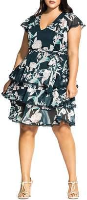 City Chic Plus Fresh Fields Tiered-Ruffle Dress