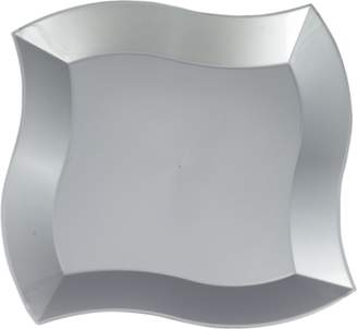 "clear Kaya Collection - Disposable Silver Plastic Wave 10"" Dinner Plates (20 Plates)"