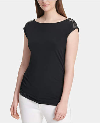 DKNY Studded Cap-Sleeve Top