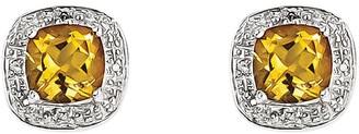 Sterling Silver Cushion-Cut Gemstone Stud Earrings