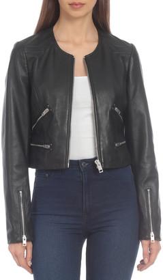 Bagatelle Cropped Leather Moto Jacket