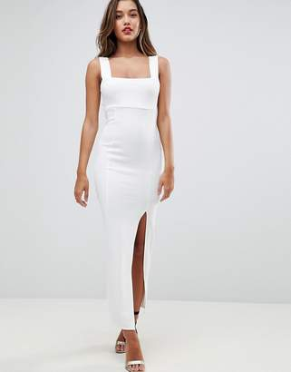 Asos DESIGN Square Neck Scuba Maxi Dress With Thigh Split