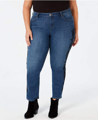 Style&Co. Style & Co Plus Size Cotton Brocade-Trim Boyfriend Jeans, Created for Macy's