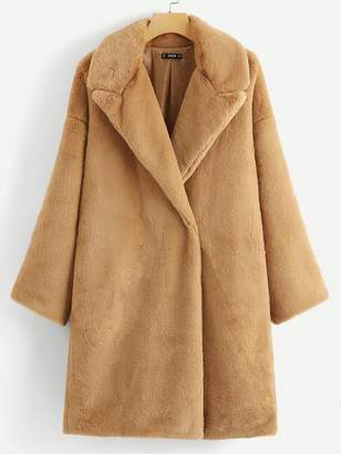 Shein Button Front Faux Fur Teddy Coat