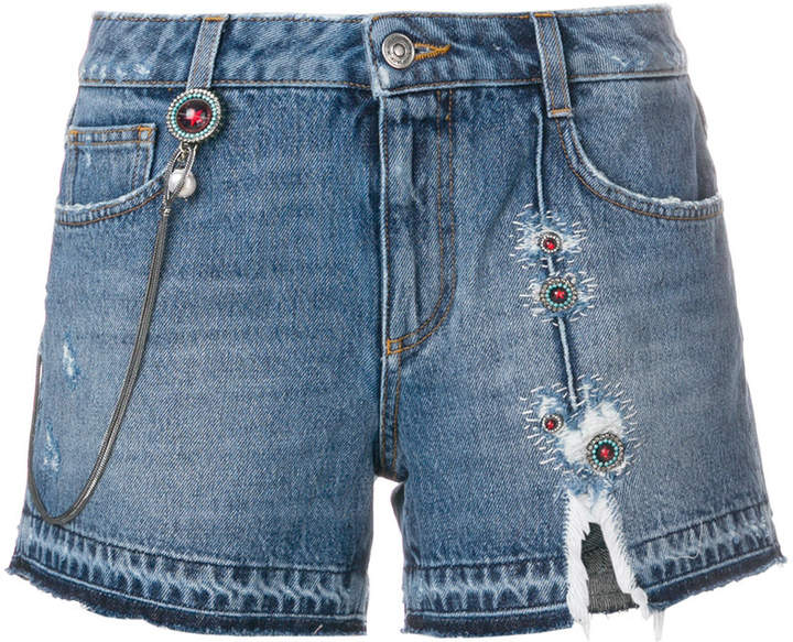 ripped embroidered denim shorts