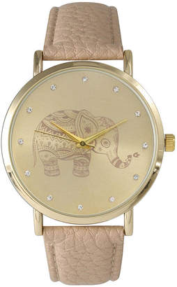 BEIGE OLIVIA PRATT Olivia Pratt Womens Rhinestone Accent Elephant Dial Leather Watch 26411Beige