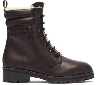 Bottega Veneta Shearling Lined Leather Combat Boots - Womens - Black