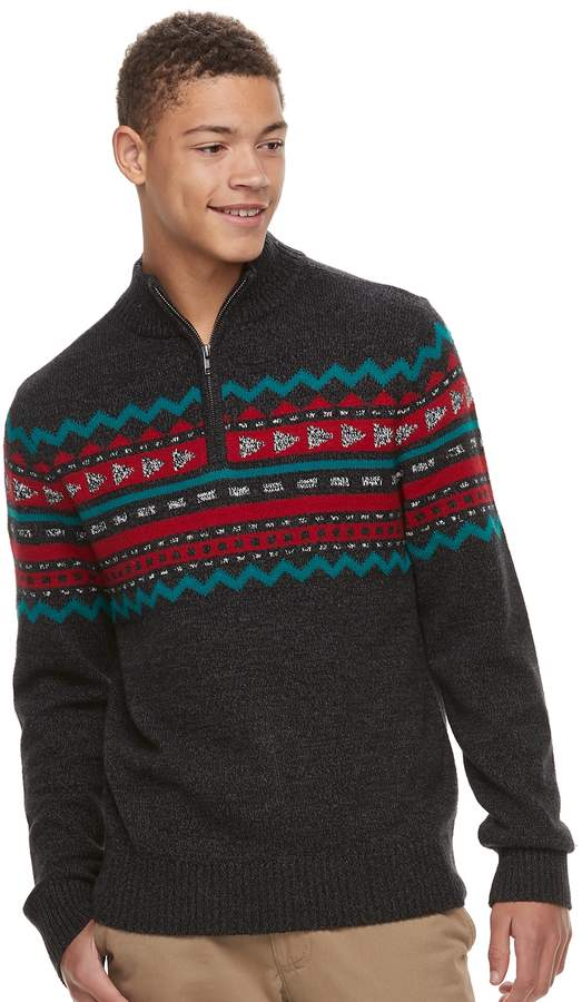 Men's Urban Pipeline Geo-Pattern Quart-Zip Sweater