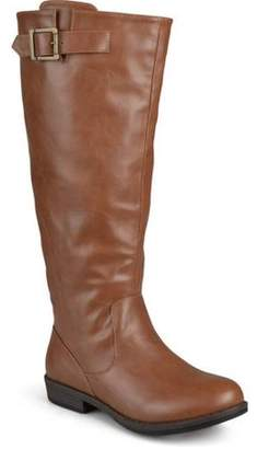Co Brinley Womens Wide Calf Round Toe Buckle Detail Boots