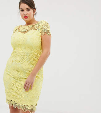 Paper Dolls Plus Cap Sleeve Sweetheart Detail All Over Crochet Lace Pencil Dress
