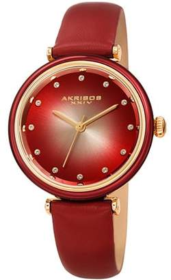 Akribos XXIV Red Casual Quartz Watch With Leather Strap [AK1035RD]