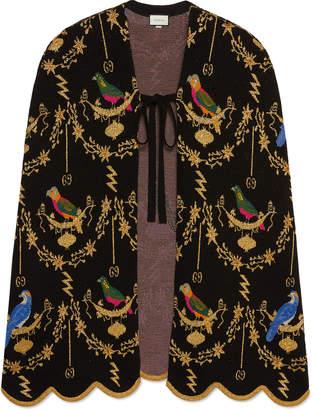 Gucci Metallic Bird Jacquard Tie-Front Cape