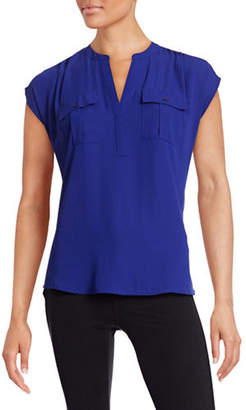 INC International Concepts Mix Media Split Neck Top