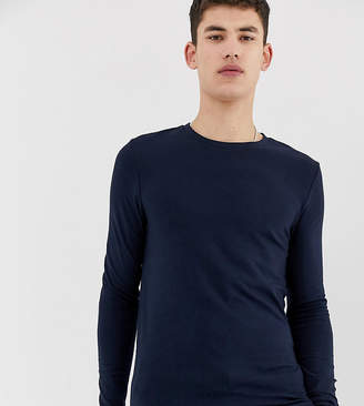 Asos Design DESIGN Tall organic muscle fit long sleeve t-shirt with crew neck in navy