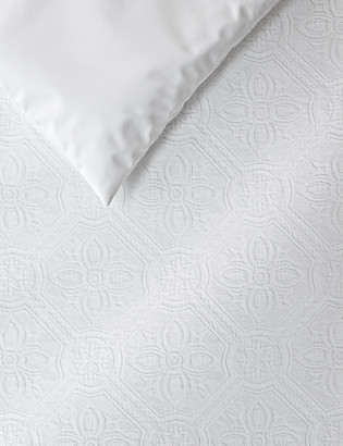 Marks and Spencer Pure Cotton Floral Matelasse Bedding Set