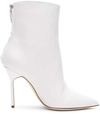 Manolo Blahnik Leather Zarinanu 105 Boots in White | FWRD