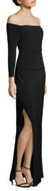 Laundry by Shelli Segal Ruched Off-The-Shoulder Gown $225 thestylecure.com