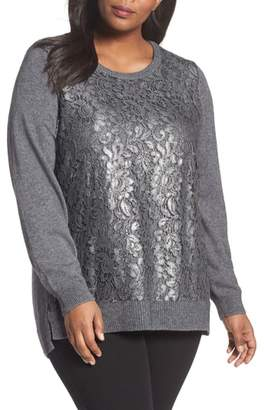 Foxcroft Pixie Metallic Lace Panel Sweater
