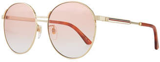 3a6a07fe387 Gucci Retro-Inspired Round Metal Web Sunglasses