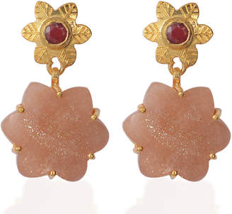 Sylvie Emma Chapman Jewels Peach Moonstone Ruby Earrings