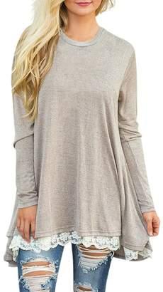 story. Fashion Women's Casual Lace Long Sleeve T-Shirt Dress L