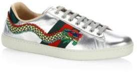 Gucci New Ace Metallic Leather Sneaker
