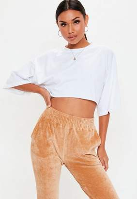 Missguided White Oversized Cropped T Shirt