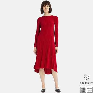 Uniqlo Women's U 3d Extra Fine Merino Crewneck Flare Long-sleeve Dress