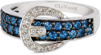 LeVian Le Vian Cornflower Ceylon Sapphire (5/8 ct. t.w.) & Diamond Accent Belt Buckle Ring in 14k White Gold