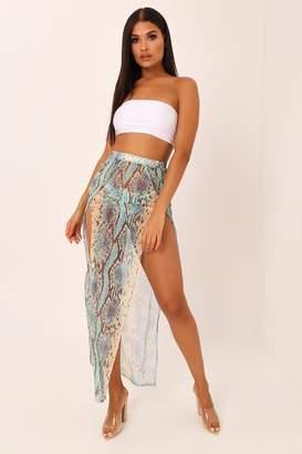 892410b245 I SAW IT FIRST Blue Snake Print Double Split Mesh Maxi Skirt